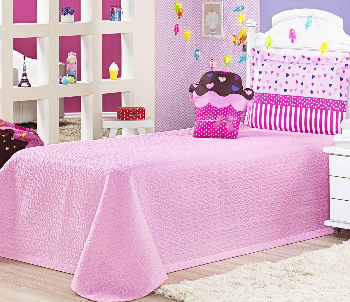 Cobre Leito Life Kids Solteiro Cupcake com Coração cor Rosa com 3 peças