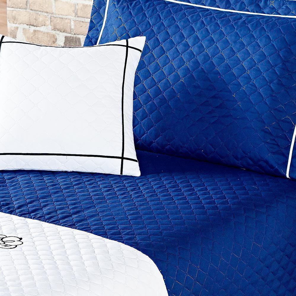 Cobre Leito Lion Solteiro Azul e Branco Ideal para Meninos com 4 peças