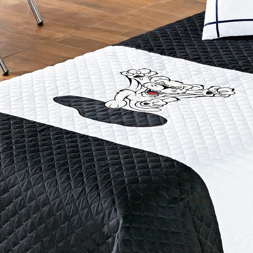 Cobre Leito Lion Solteiro Preto e Branco Ideal para Meninos com 4 peças