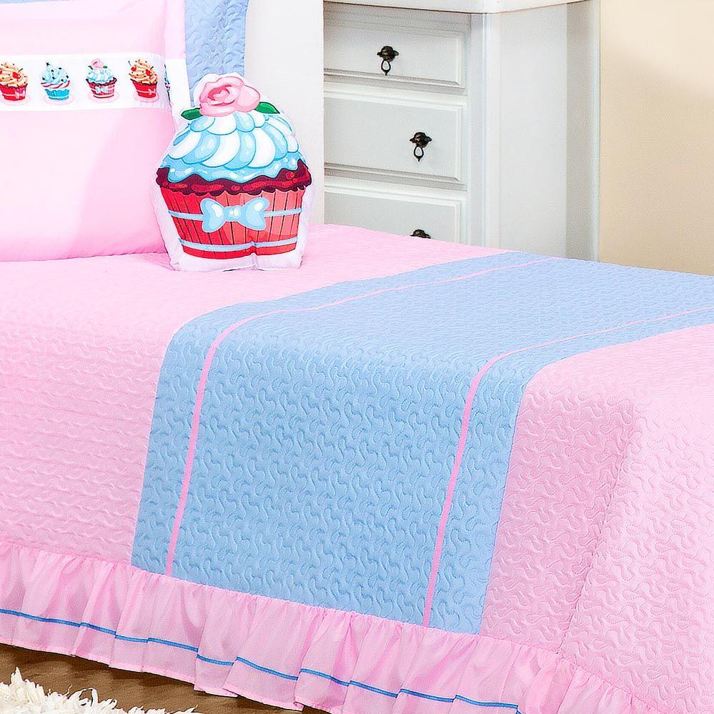 Cobre Leito Lollipop Menina Solteiro Rosa Estampa Divertida com 3 peças