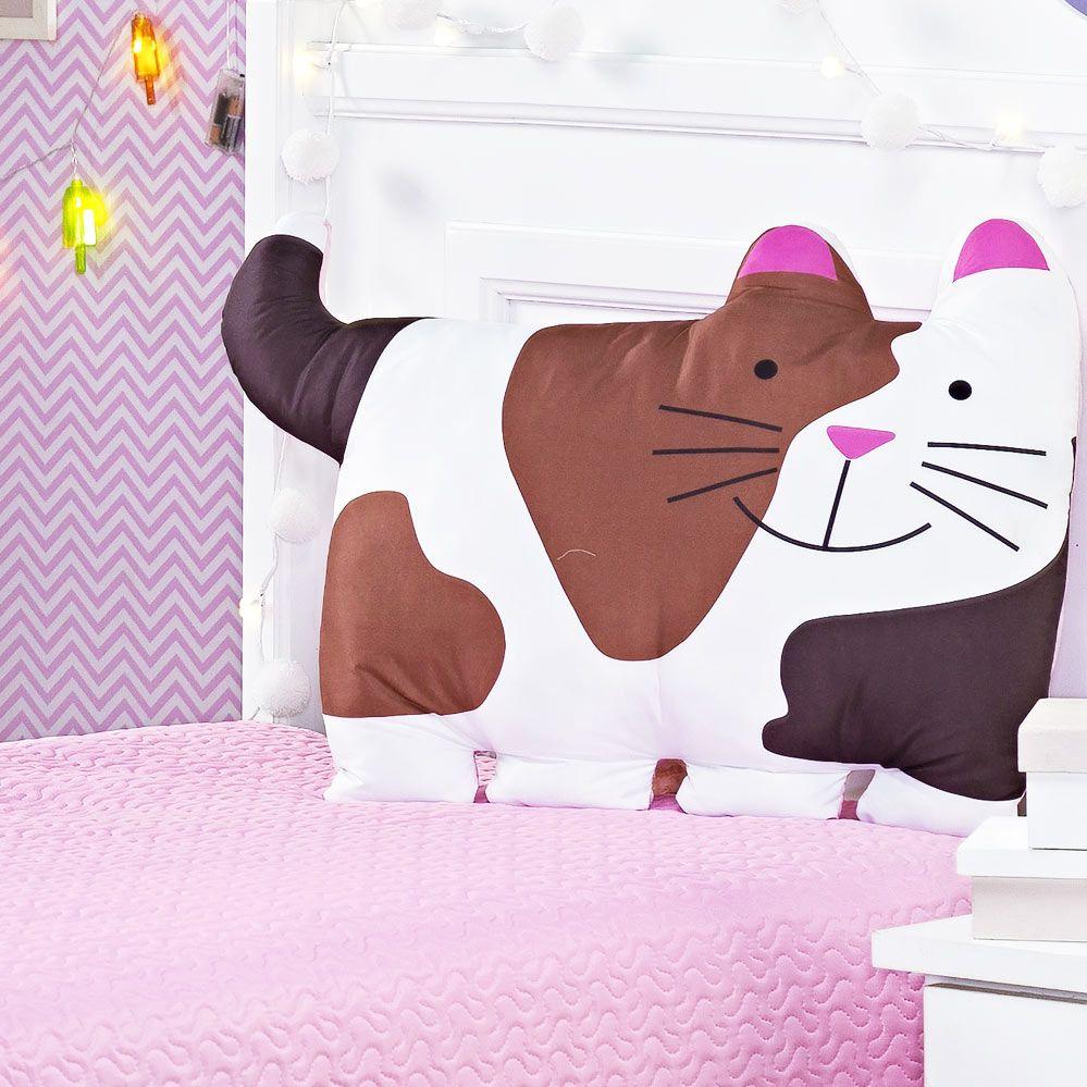Cobre Leito Pets Solteiro Gatinho Lindo cor Rosa com 3 peças