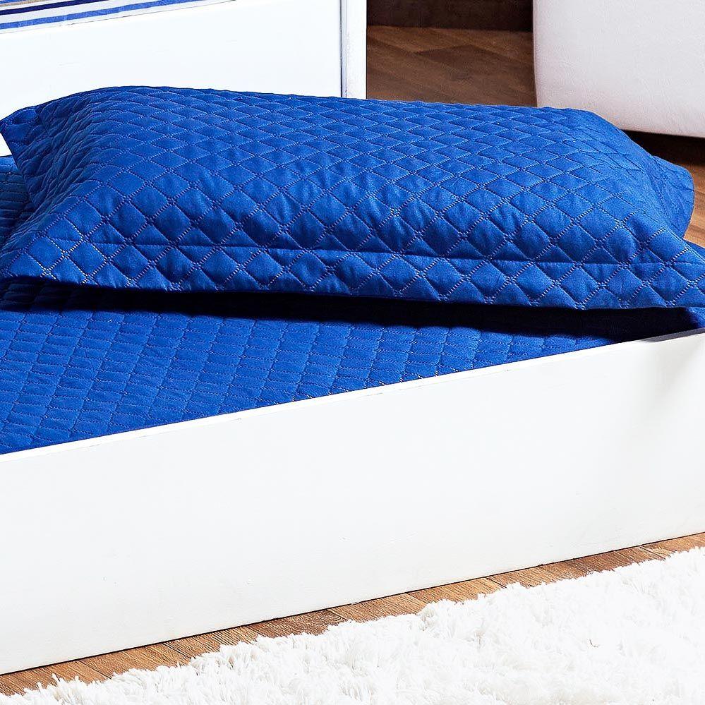Cobre Leito Prático Solteiro Azul Royal Matelado com 2 peças