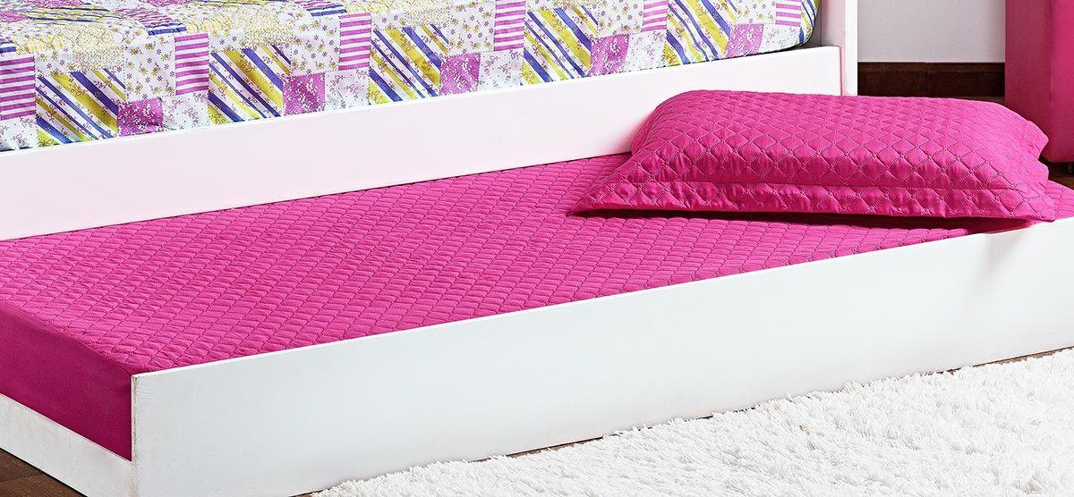 Cobre Leito Prático Solteiro Rosa Pink Matelado com 2 peças