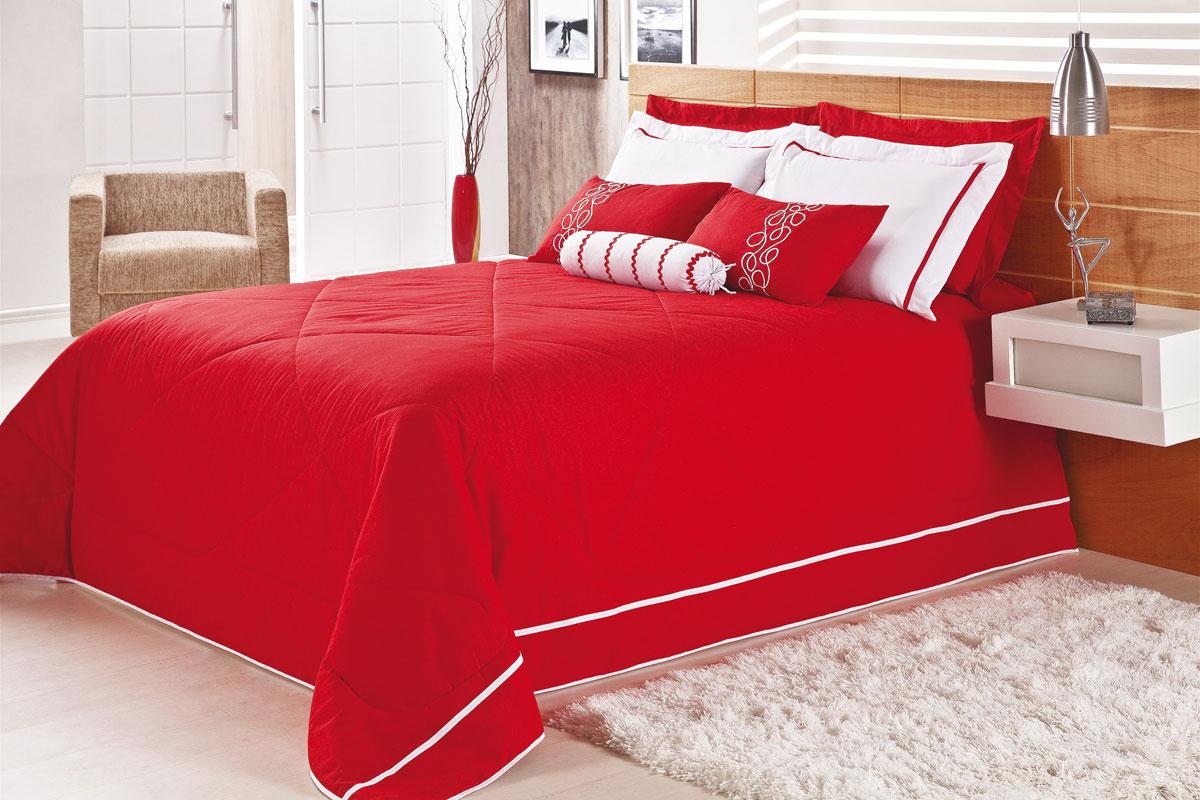 Colcha / Cobre Leito Cama Queen Box Vermelho em Algodão 150 fios com 9 peças - Cobre Leito Maretto