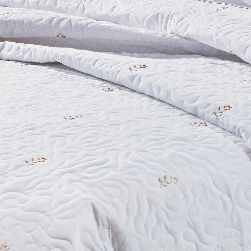 Cobre Leito Queen Coleção Coral Branco bordado rosas Algodão 200 Fios com 3 peças