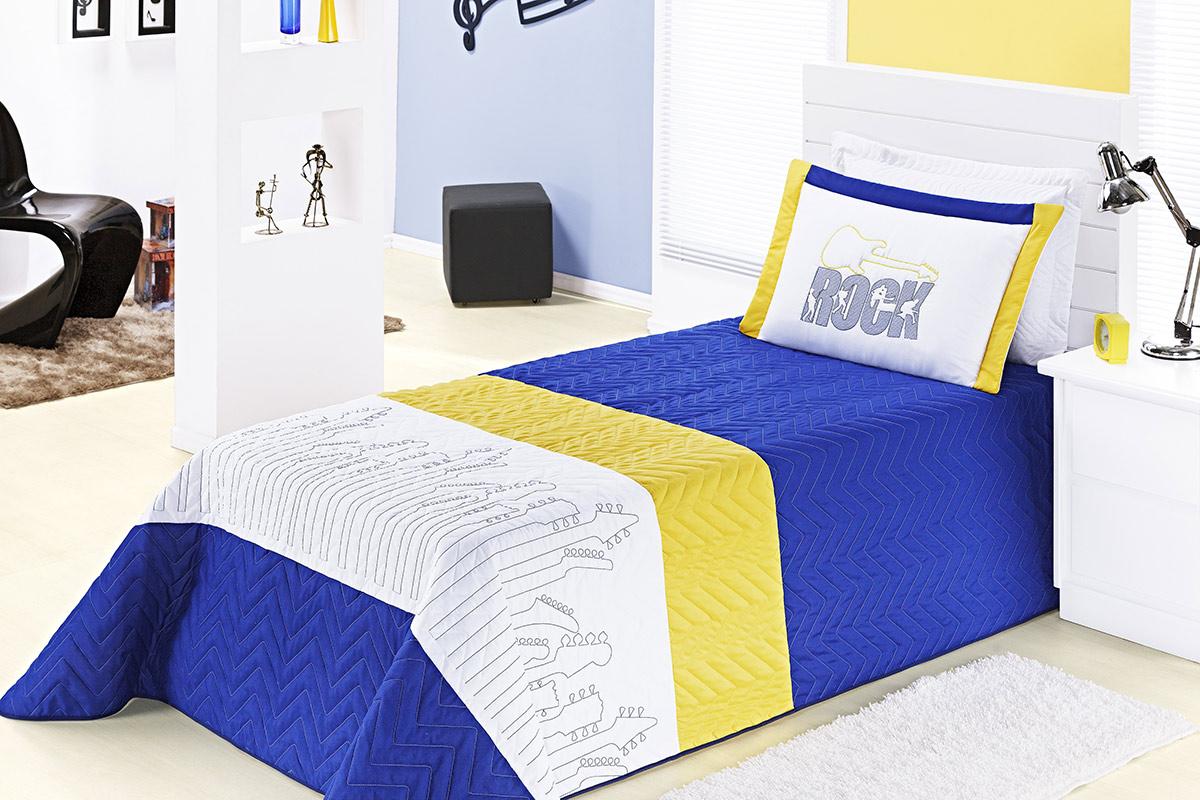 Cobre Leito Rock Solteiro Azul e Amarelo com 3 peças Poliéster e Polipropileno