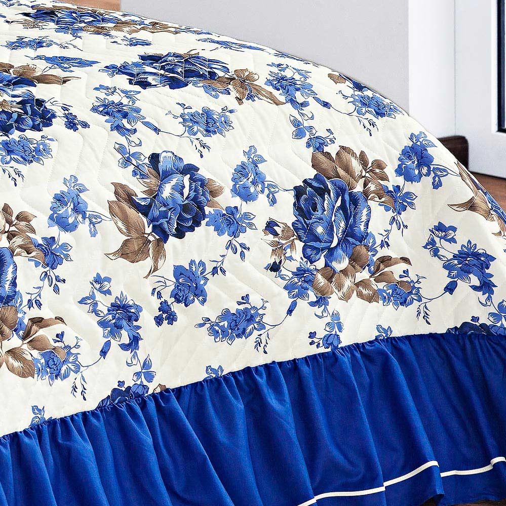 Cobre Leito Sofia Queen Azul Belo Jardim Floral com 5 peças