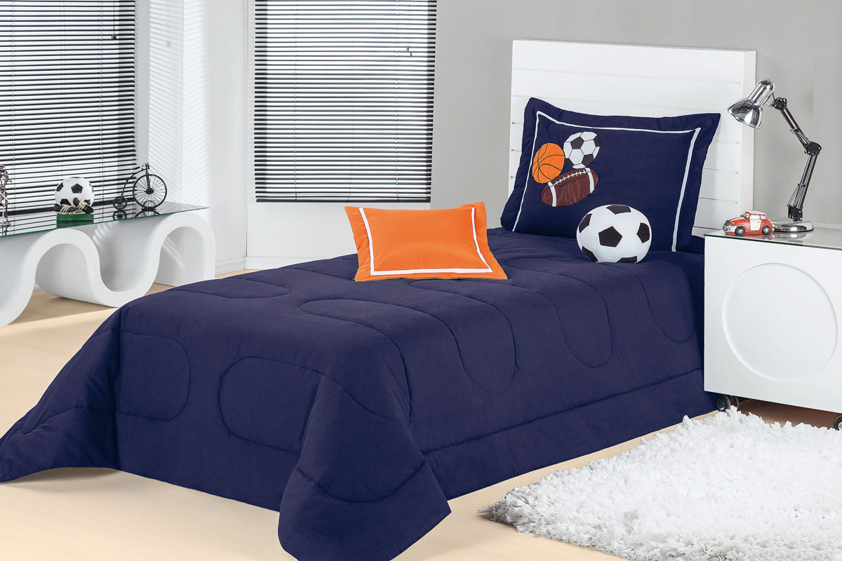 Colcha cobre leito cama solteiro azul marinho em algod o 150 fios com 4 pe as cobre leito - Colchas para cama de 150 ...