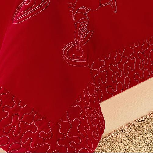 Cobre Leito Solteiro Cross Vermelho com 3 peças em Algodão e Poliéster