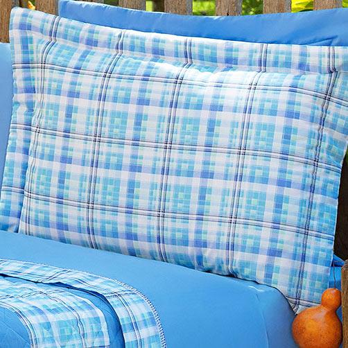 Cobre Leito Solteiro Nix Azul Royal com 3 peças em Algodão e Poliéster