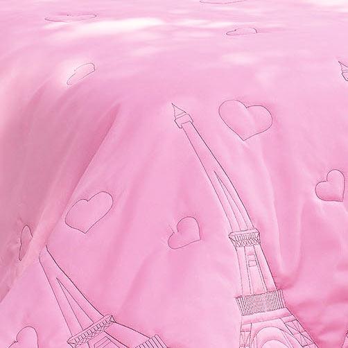 Cobre Leito Solteiro Paris Rosa com 4 peças em Algodão e Poliéster