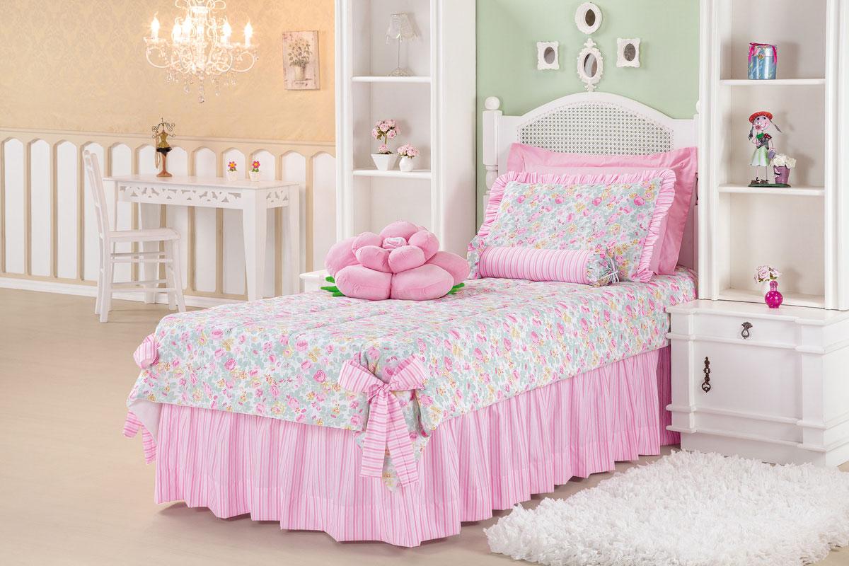 Colcha cobre leito cama solteiro rosa com listras em tricoline com 5 pe as cobre leito melfi - Telas para colchas infantiles ...