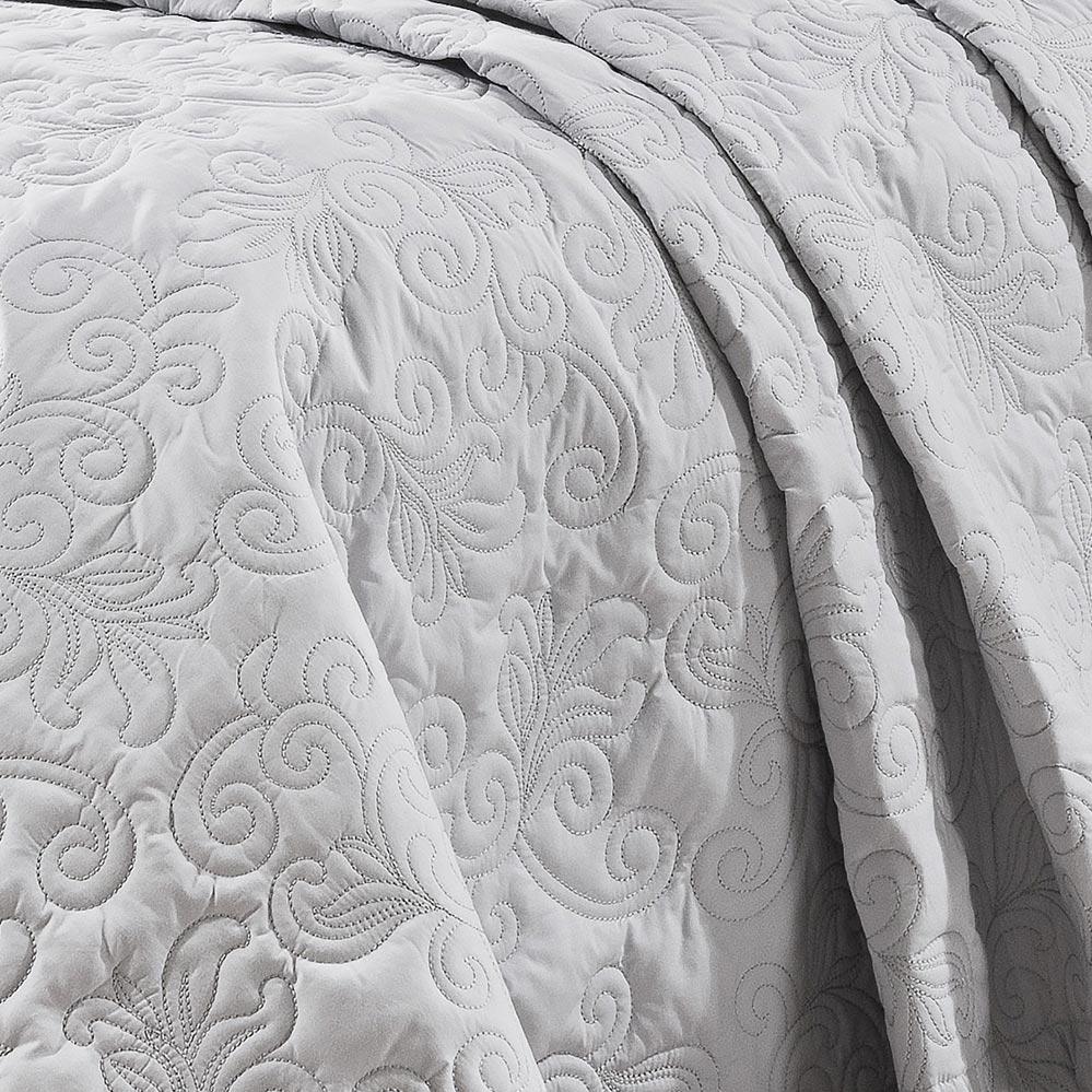 Cobre Leito Super King Coleção Breton Branco e Prata Algodão 200 Fios com 3 peças