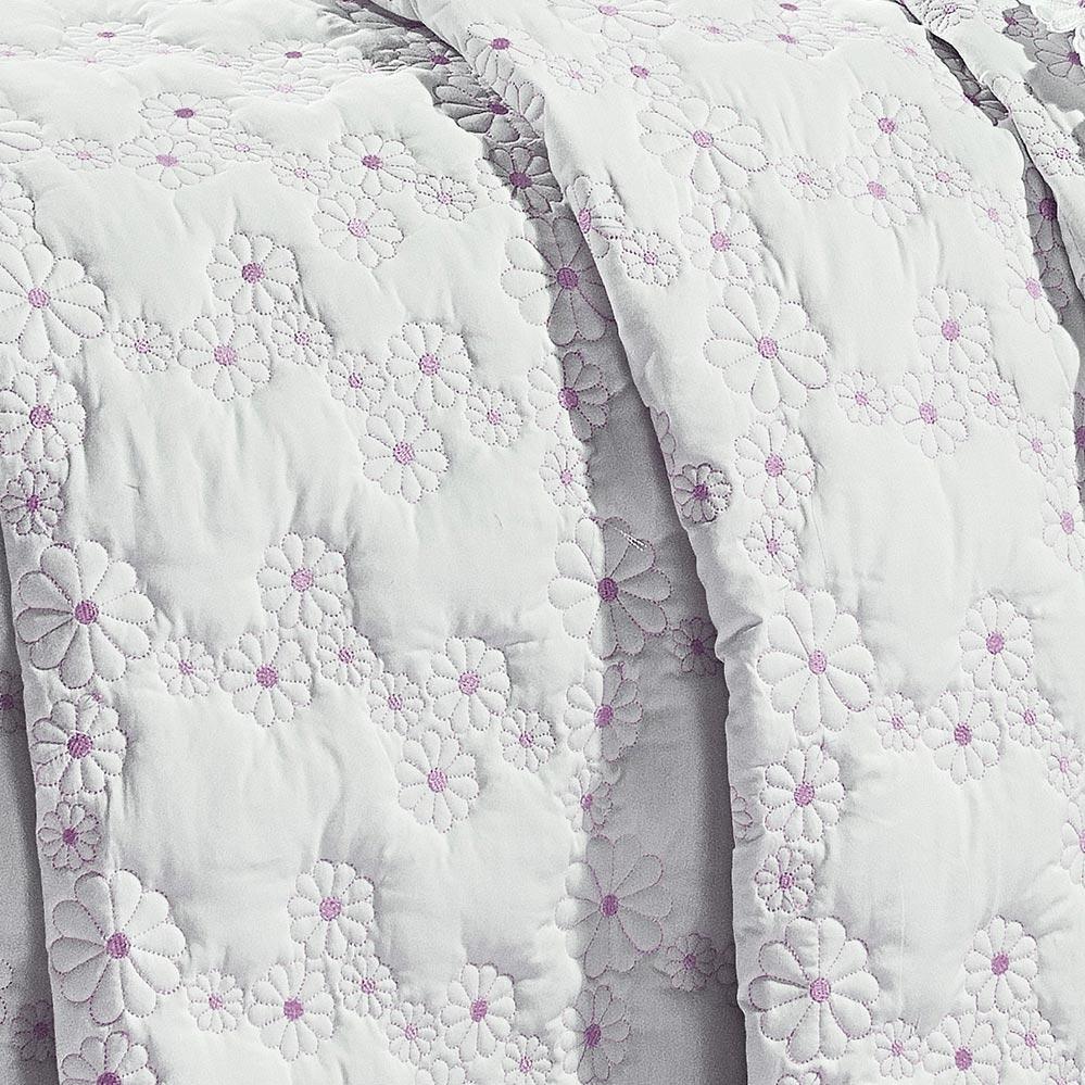 Cobre Leito Super King Coleção Nuance Branco e Rosa Algodão 200 Fios com 3 peças