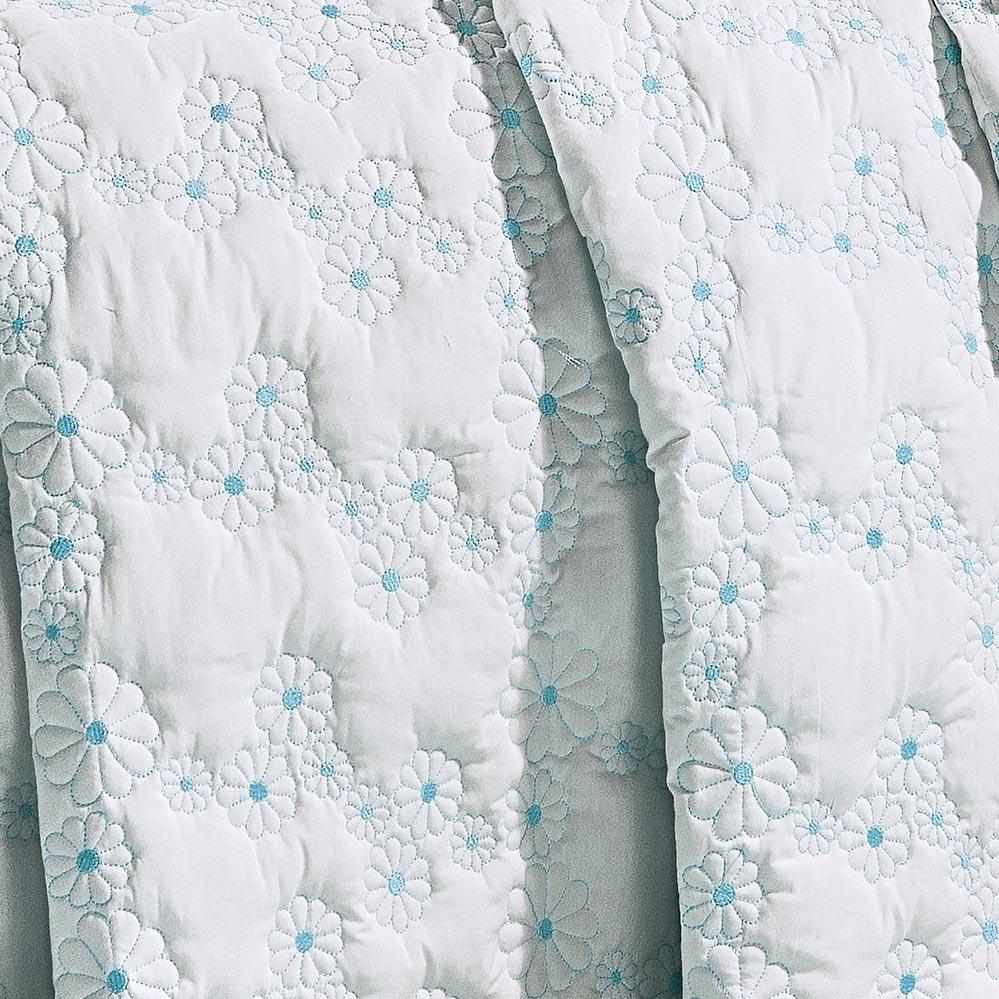 Cobre Leito Super King Coleção Nuance Branco e Verde Tiffany Algodão 200 Fios com 3 peças