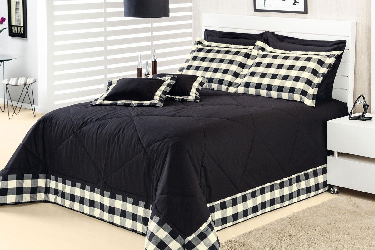Colcha cobre leito cama super king size preto em algod o - Imagenes de colchas para camas ...