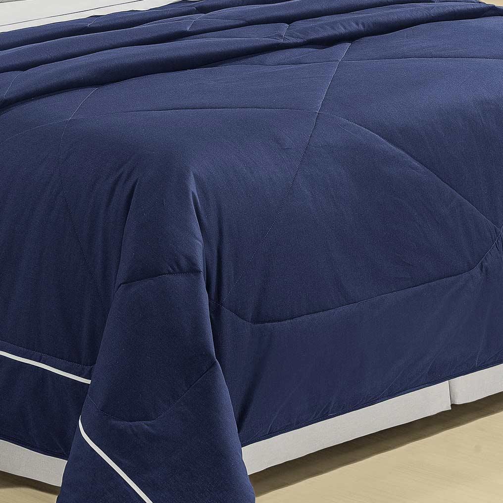 Cobre Leito Tammaro Casal Azul Marinho com 3 peças em Algodão e Poliéster