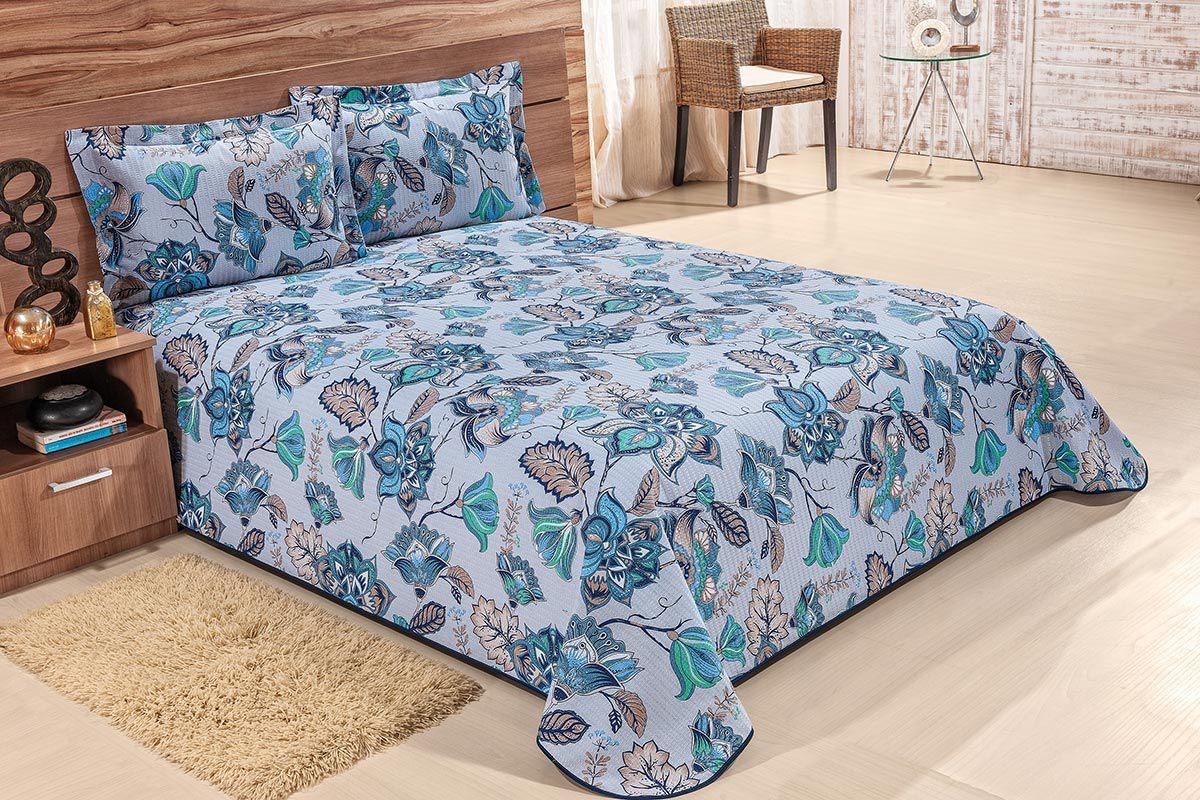 Colcha Acquaviva Solteiro Floral Azul com 2 peças