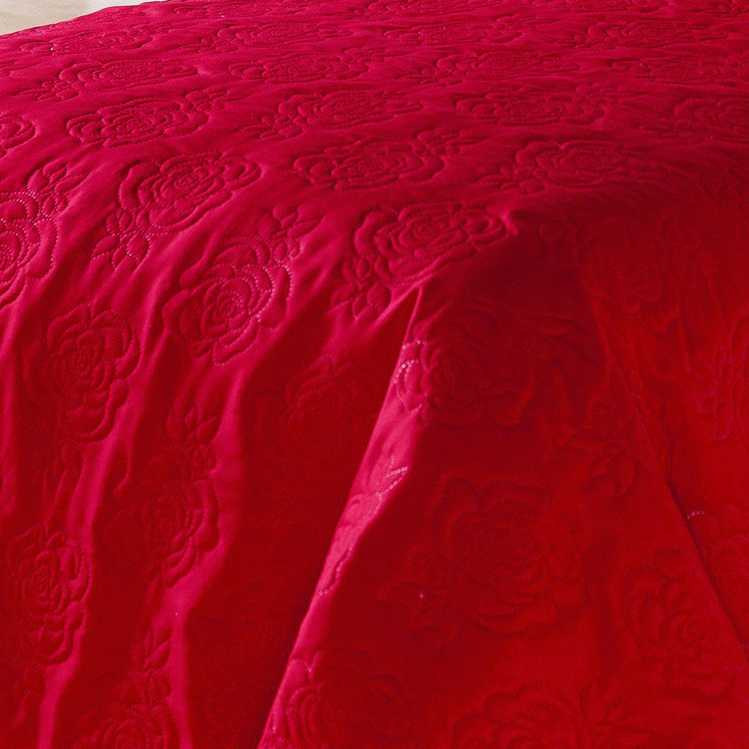 Colcha Cama Life Queen Vermelha com 3 peças Matelasse Flores - Dupla Face