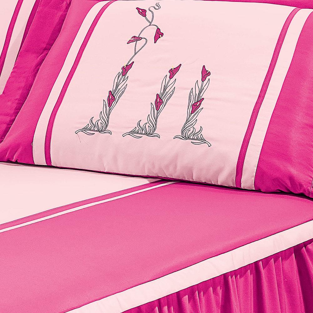 Colcha Casal Camille Rosa Pink Listrado com 5 peças