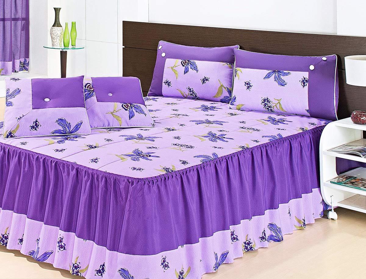 Colcha Casal Eliana Roxo Floral com 7 peças