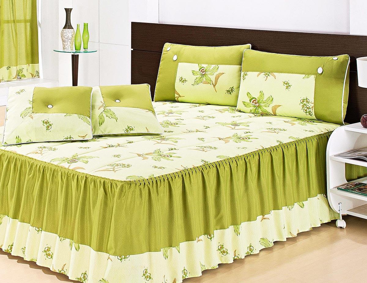 Colcha Casal Eliana Verde Floral com 7 peças