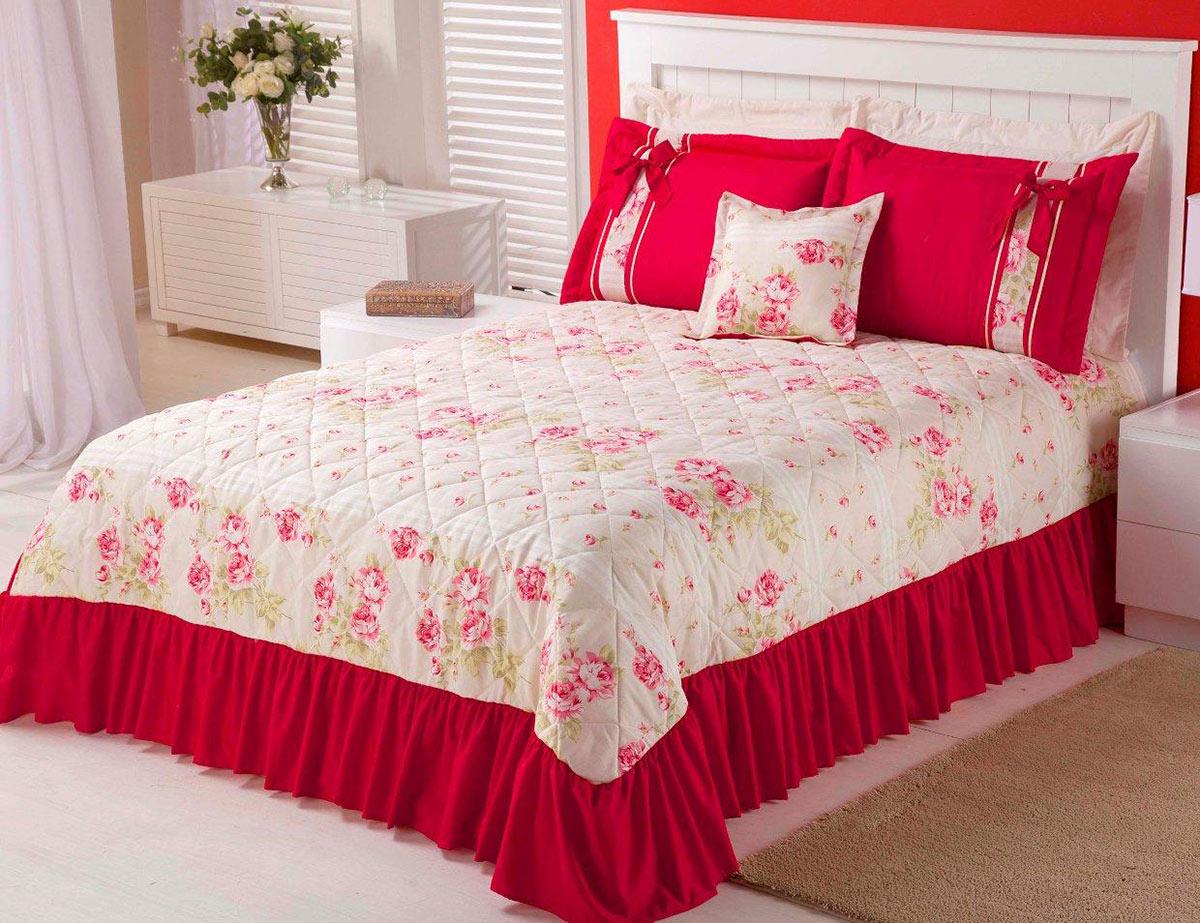 Colcha Casal Floral Vermelha com 05 peças em Algodão e Poliester - Colcha Claudia