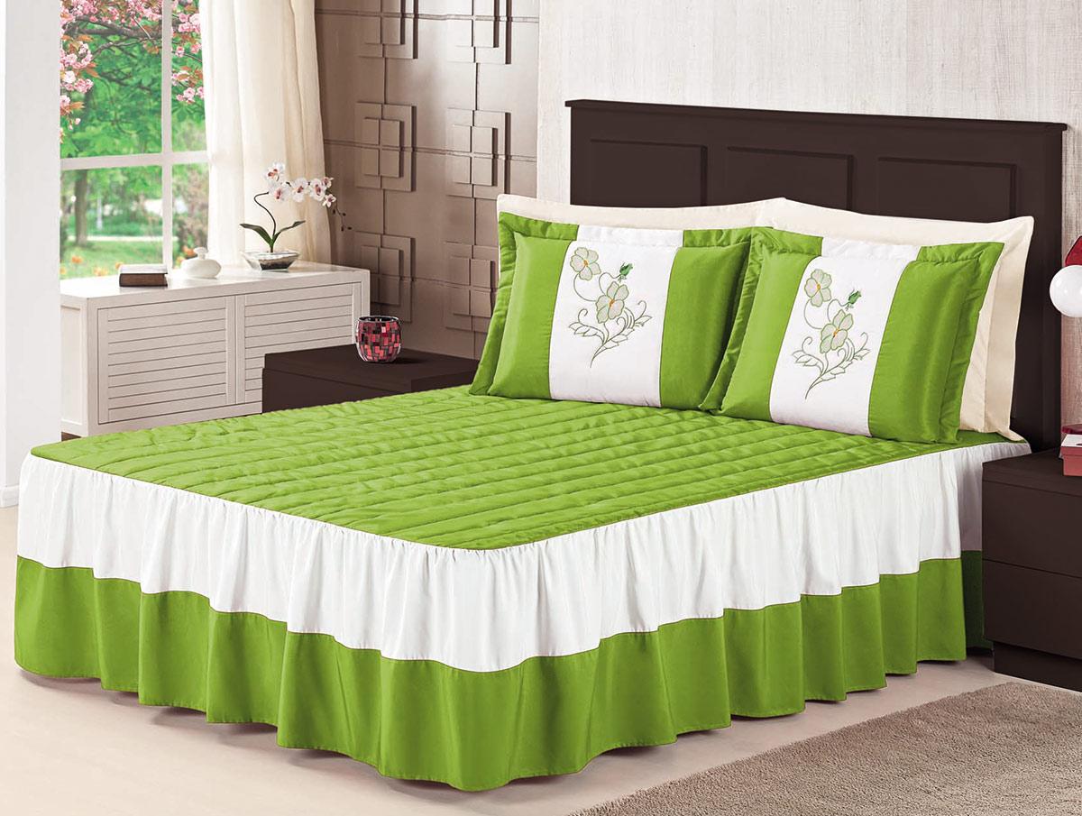 Colcha Casal Padrão Colcha Florata  Verde com 5 peças em 100% Poliéster