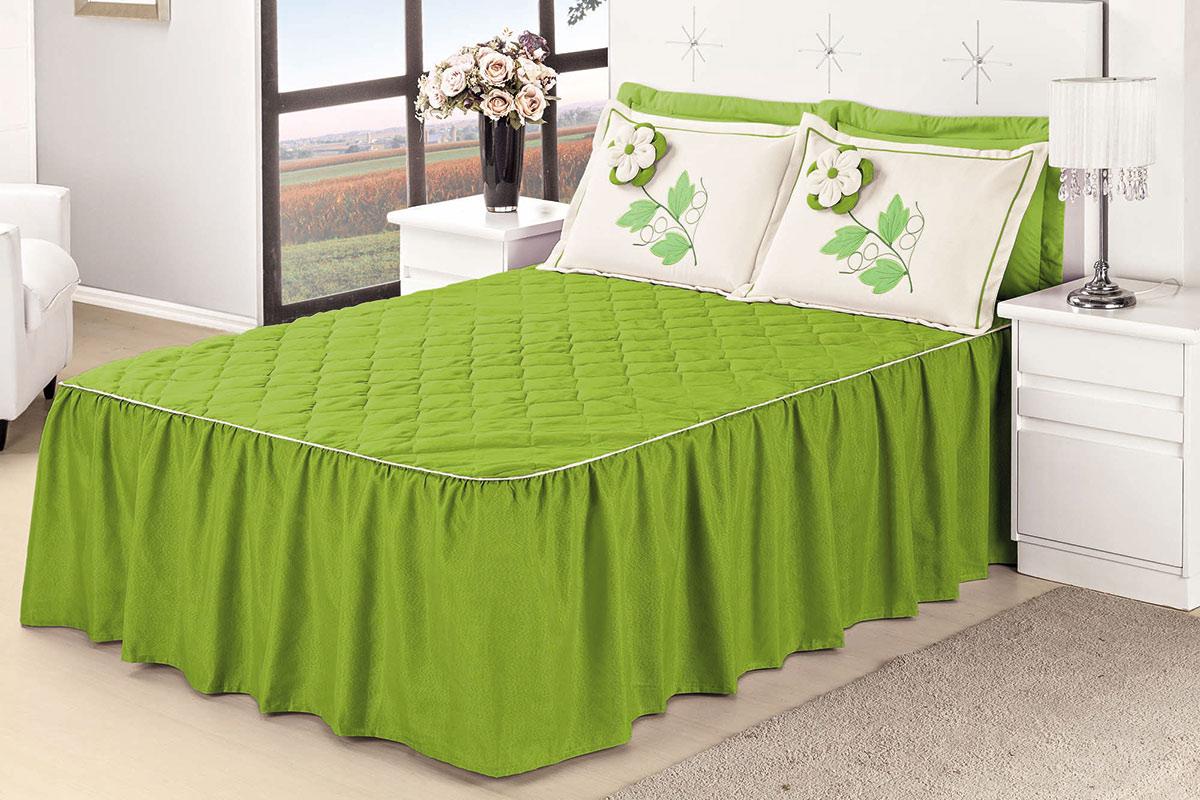 Colcha Casal Padrão Colcha Primavera  Verde com 5 peças em Algodão / Poliéster
