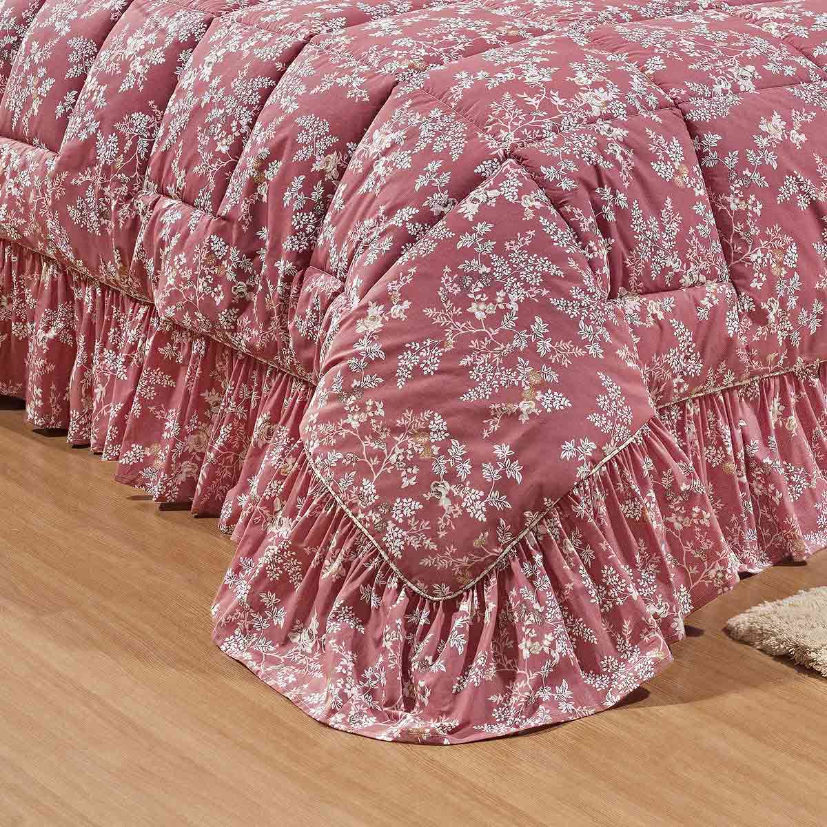 Colcha Casal Queen Kit Bouquet Percal 200 Fios Florida com 20 peças