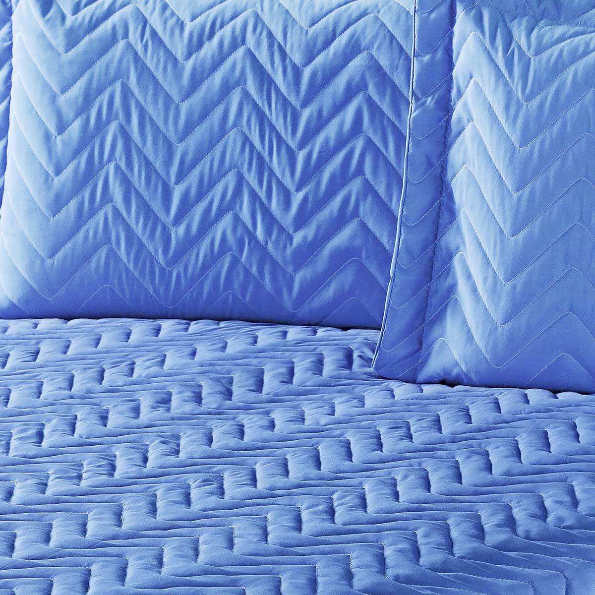 Colcha Clean Casal Azul com 4 peças Algodão e Poliester
