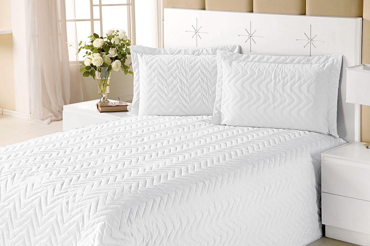 Colcha Clean Casal Branco com 4 peças Algodão e Poliester