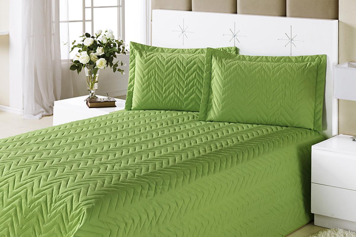 Colcha Clean Casal Verde com 4 peças Algodão e Poliester