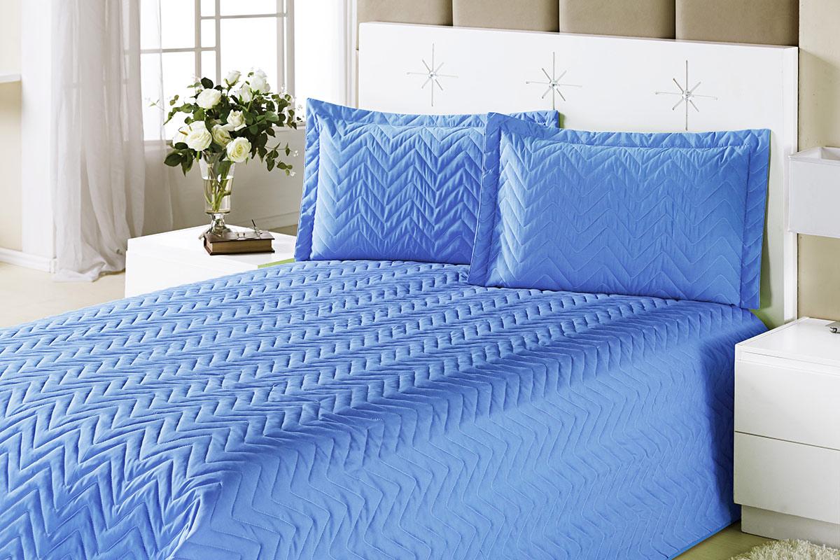 Colcha Clean Queen Azul com 4 peças Algodão e Poliester