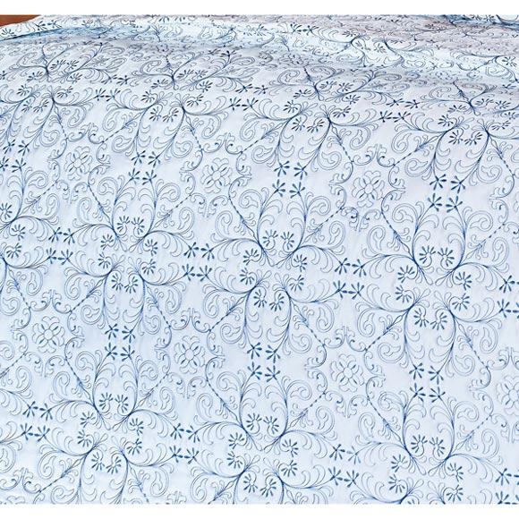 Colcha / Cobre Leito Bordado Queen Azul em Fio Egipicio Percal 400 fios - Lazuli com 3 peças