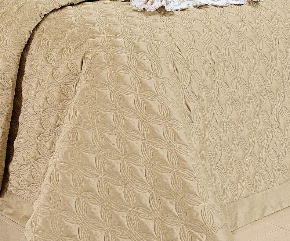 Colcha / Cobre Leito Bordado Queen Caqui em Fio Egipicio Percal 400 fios - Tritone com 3 peças