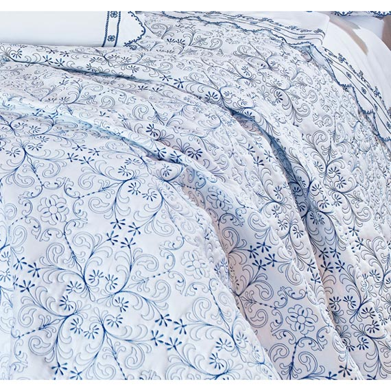 Colcha / Cobre Leito Bordado Super King Azul em Fio Egipicio Percal 400 fios - Lazuli com 3 peças