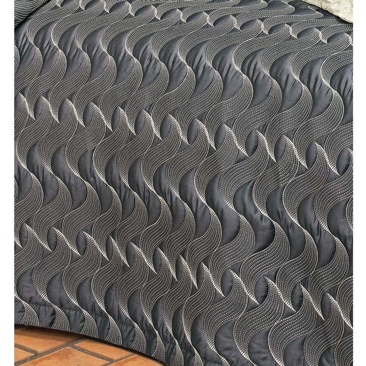Colcha / Cobre Leito Bordado Super King Grafite em Fio Egipicio Percal 400 fios - Sorano com 3 peças