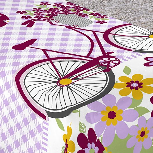 Colcha/Cobre-Leito Cama Solteiro Bicicleta com Flores Menina com 2 peças