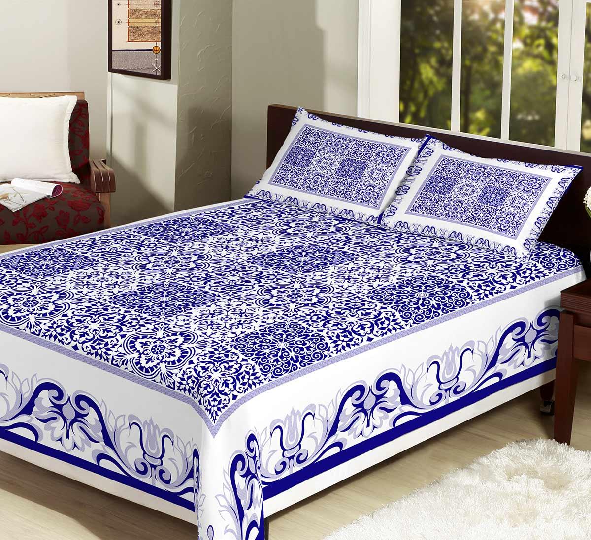 Colcha/Cobre-Leito Casal Arabesco Azul com 3 peças tecido Algodão e Poliester - CobreLeito Mirela