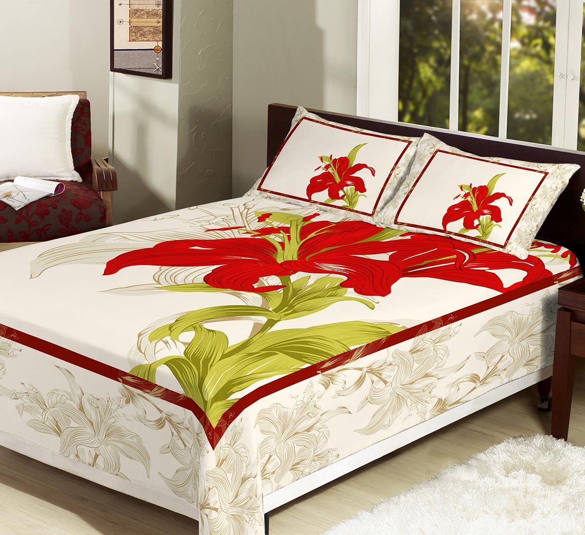 Colcha/Cobre-Leito Casal Ibisco Vermelho com 3 peças tecido Algodão e Poliester - CobreLeito Mirela