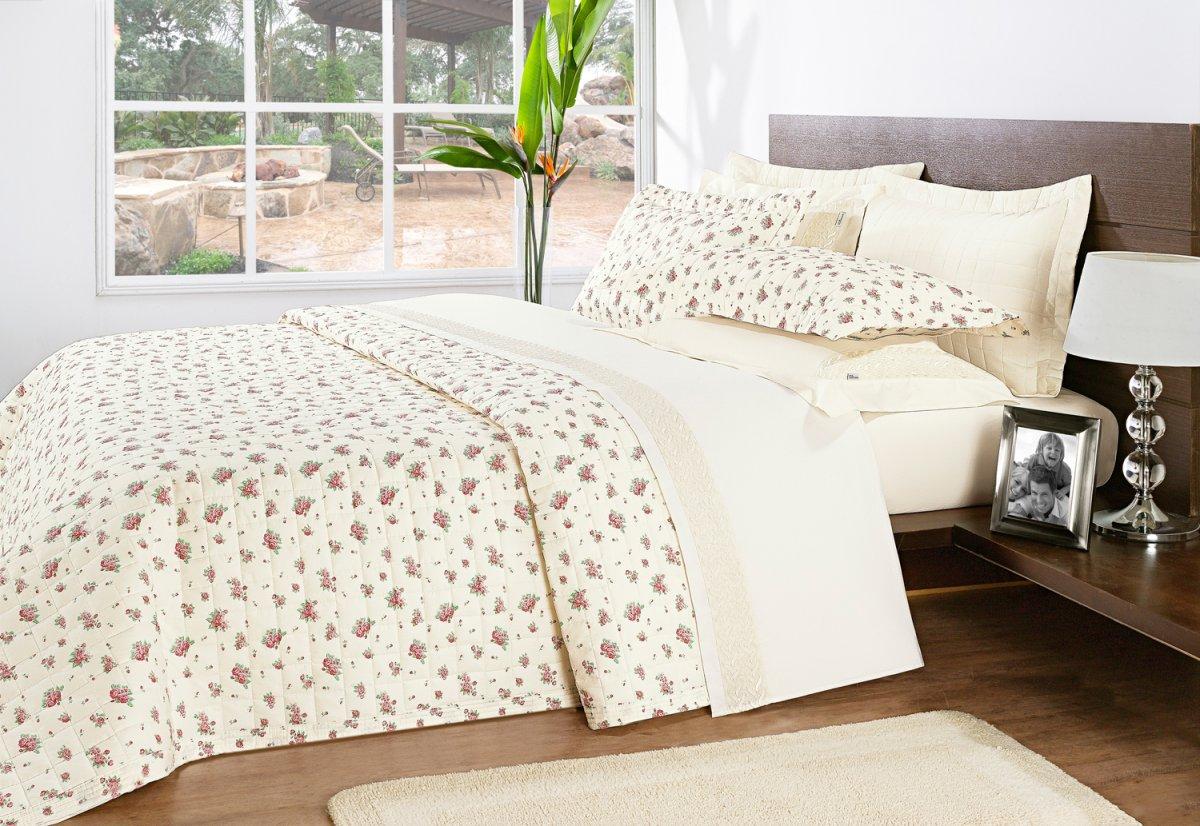 Colcha cobre leito cama super king size palha com flores - Tipos de colchas ...