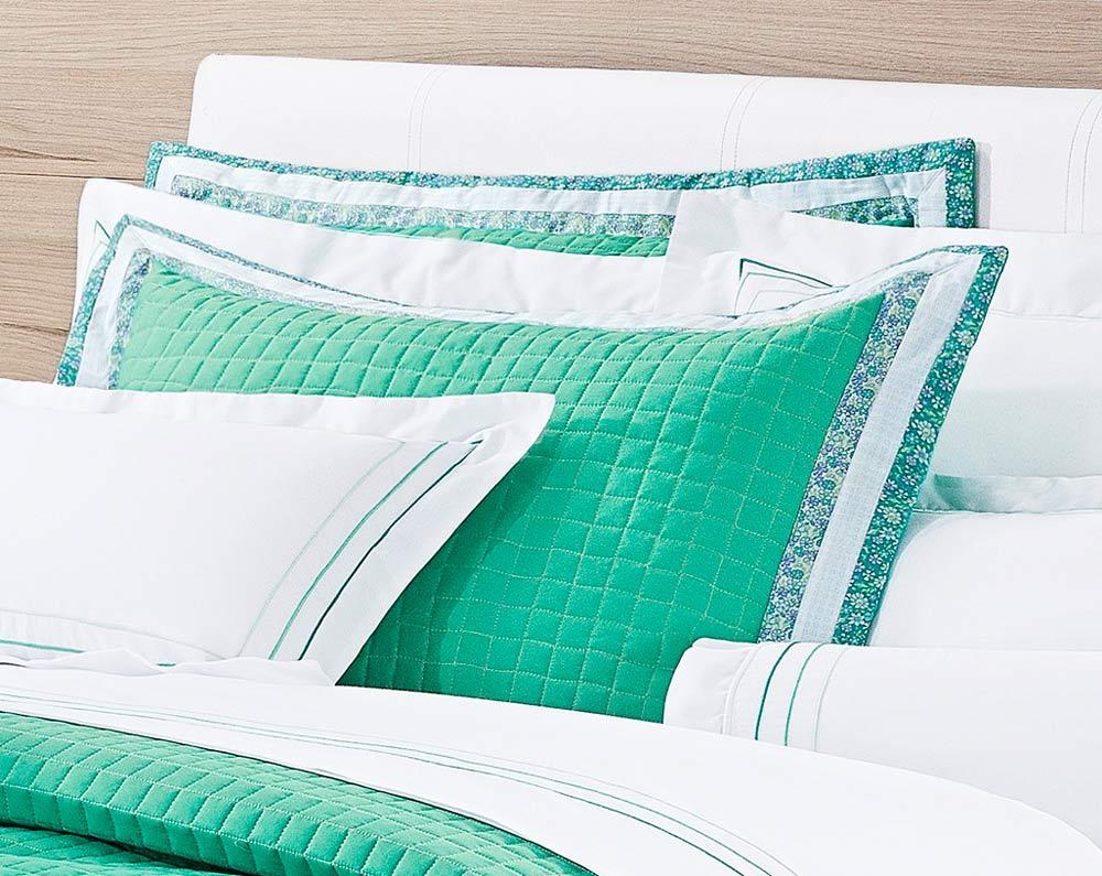 Colcha / Cobre Leito Cama King Size Verde Percal 200 fios com 3 peças - CobreLeito Bloom