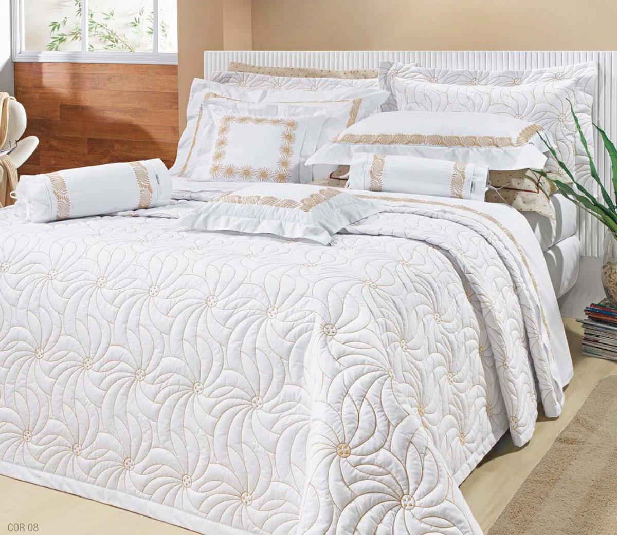 Colcha cobre leito cama queen branco com palha percal for Ancho cama king size
