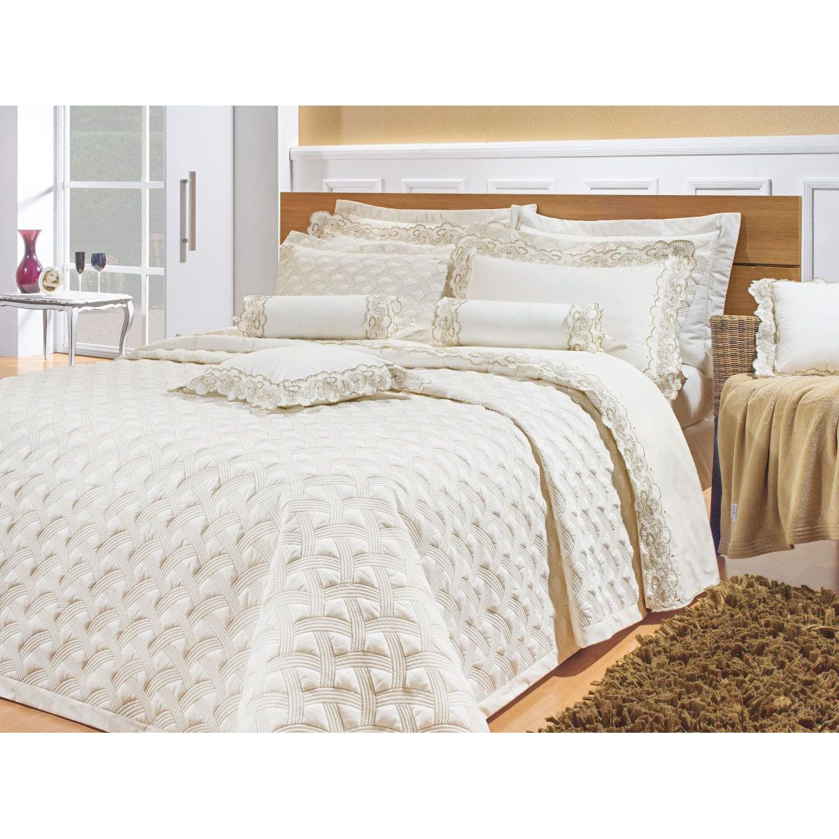 Colcha cobre leito cama queen percal 200 fios com 3 for Tipos de camas queen