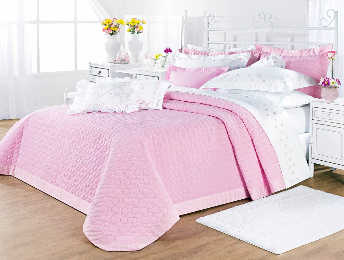 Colcha cobre leito cama queen rosa percal 200 fios com 3 for Tipos de camas queen