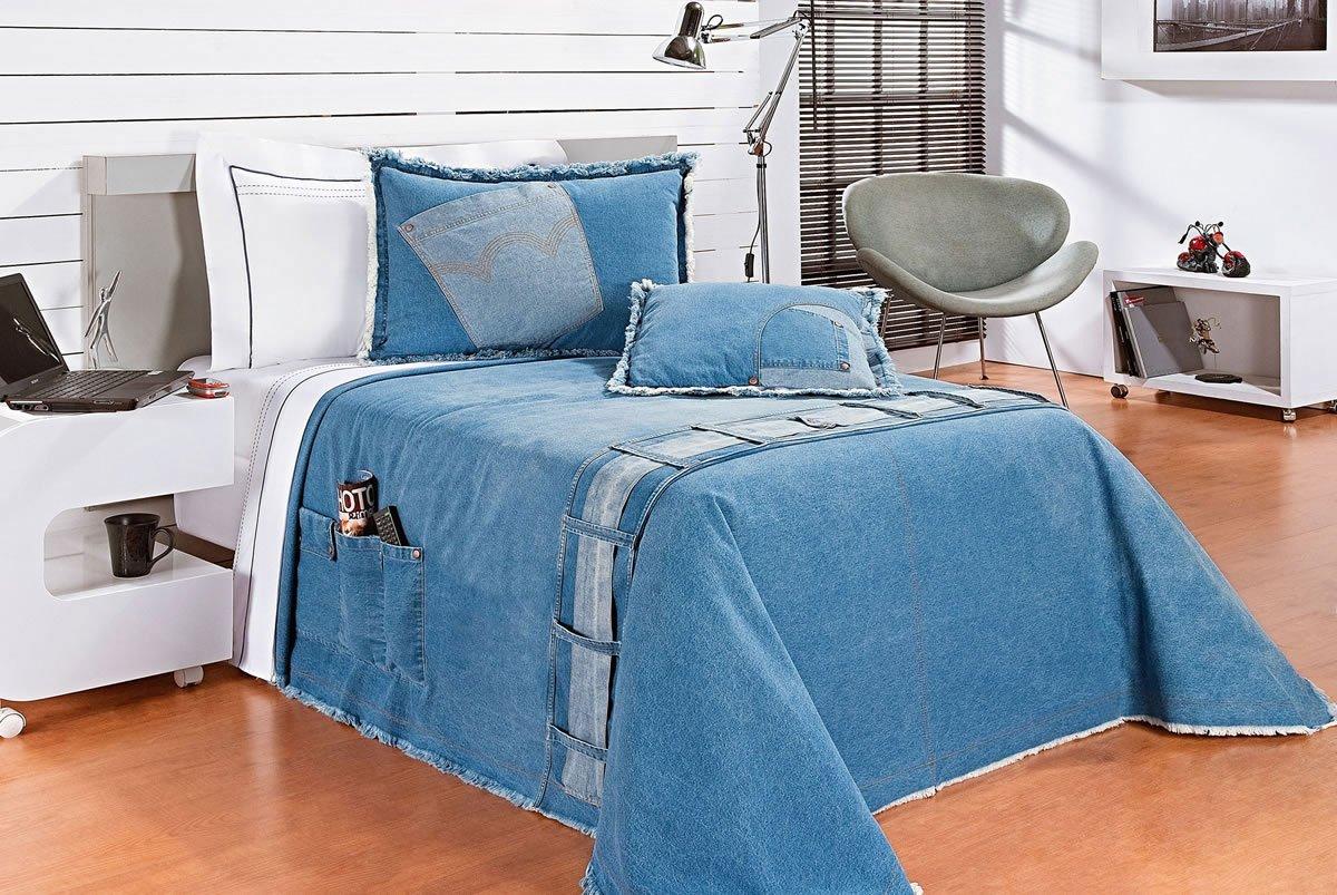 Colcha / Cobre Leito Cama Solteiro Azul claro Algodão com 4 peças - CobreLeito Street