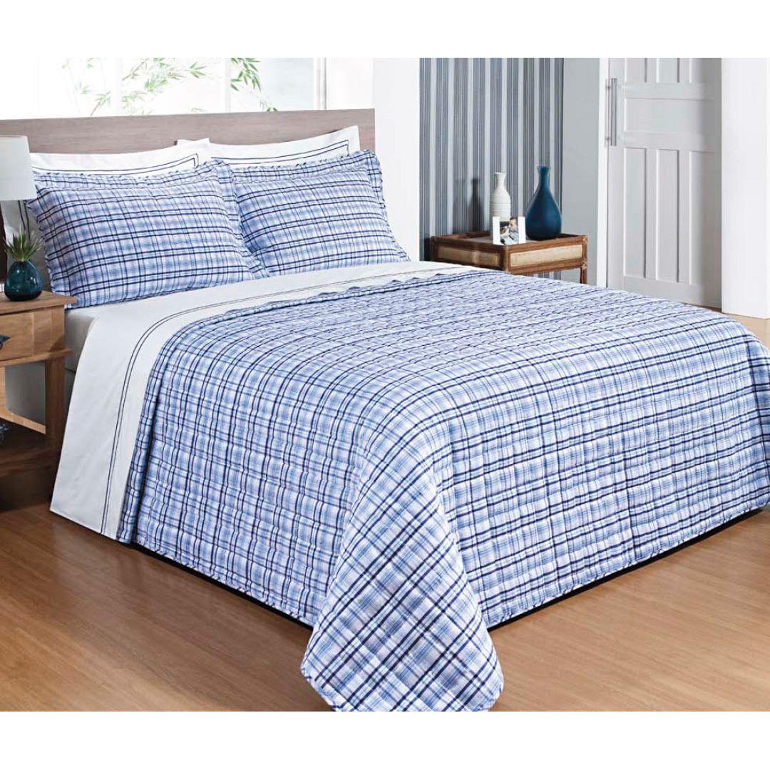 Colcha / Cobre Leito Cama Super King Size Azul Percal 200 fios com 3 peças - CobreLeito Nobre