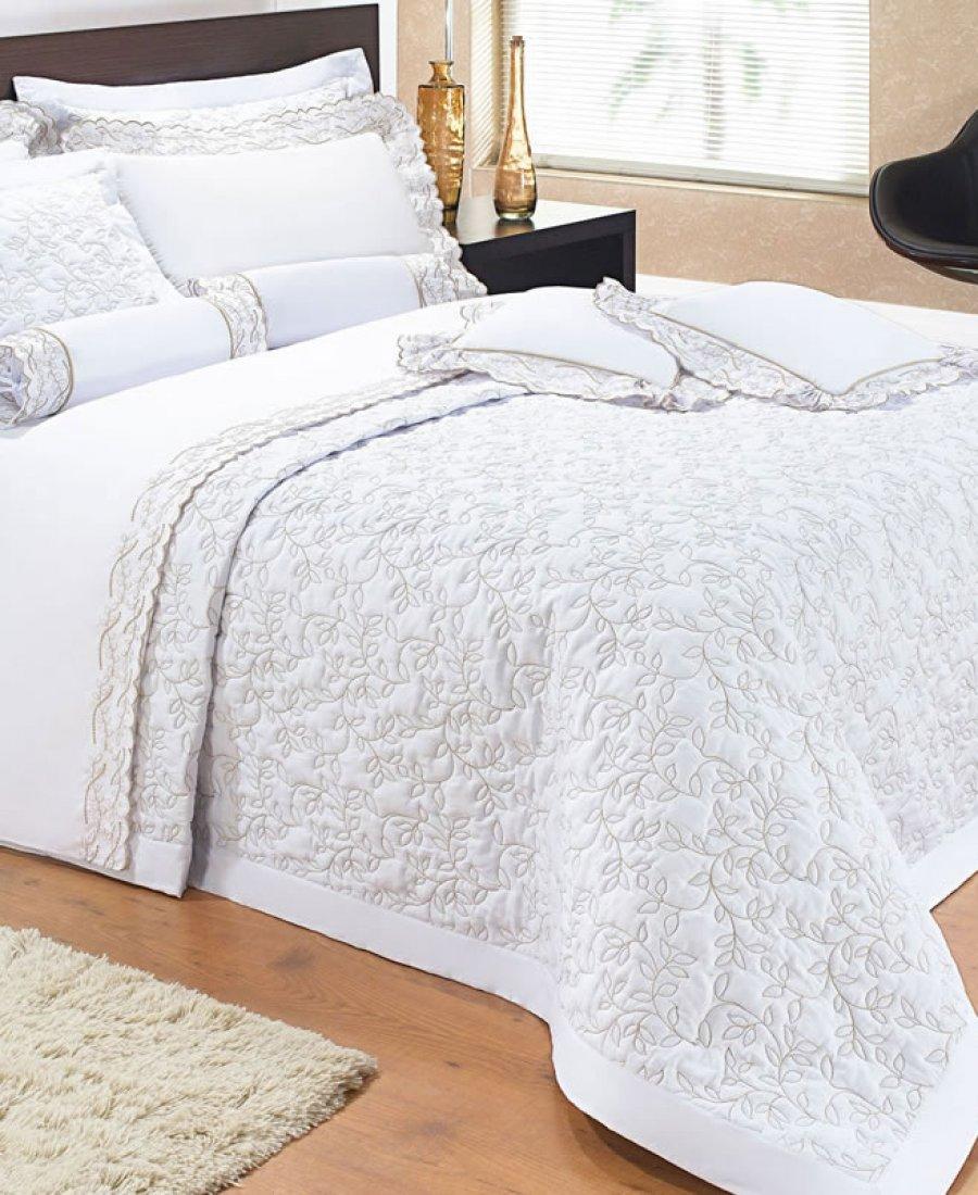 Colcha / Cobre Leito Cama Super King Size Branco Bordado Palha Percal 200 fios com 3 peças - CobreLeito Lyric