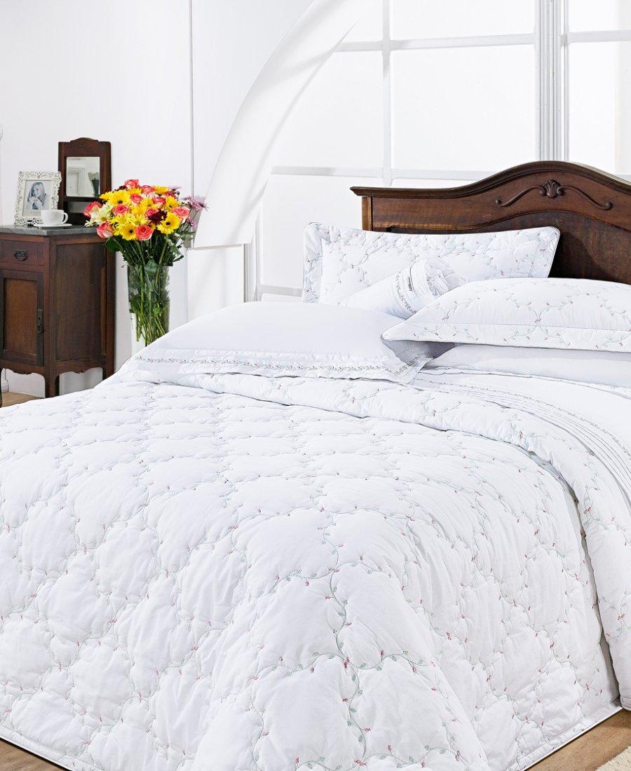 Colcha / Cobre Leito Cama Super King Size Branco Percal 200 fios com 3 peças - CobreLeito Serenita